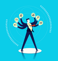 Business man multitask concept vector