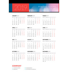 Calendar poster for 2019 year portrait vector