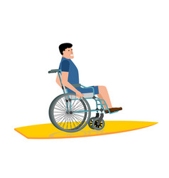 Disabled surfer wheelchair on surfboard on white vector