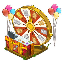 Festive wheel of fortune with colorful balloons vector