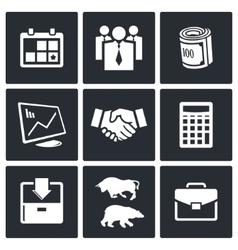 Financial exchange icon set vector