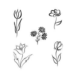 flower set engraved floral design elements vector image vector image