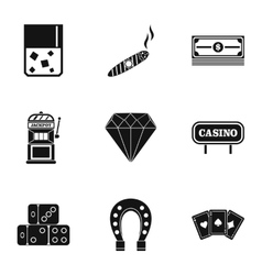 Gambling icons set simple style vector