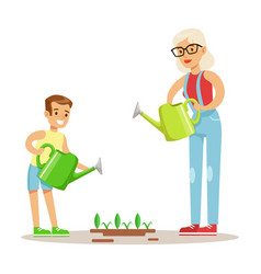Grandmother and boy watering plants part of vector