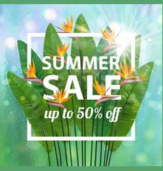 Green blue botanical summer tropical sale flyer vector