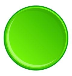 Green round button icon cartoon style vector