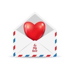 Heart in the open postal envelope vector