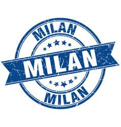 Milan blue round grunge vintage ribbon stamp vector