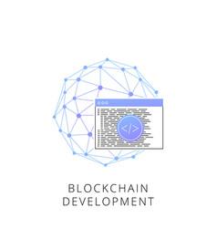 Neon blockchain development line icon vector