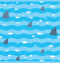 pattern fish and fins sharks swimming in blue sea vector image vector image