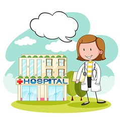 Physician in front of hospital vector
