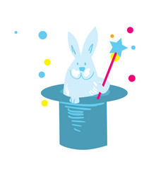 Rabbit in hat isolated icon vector