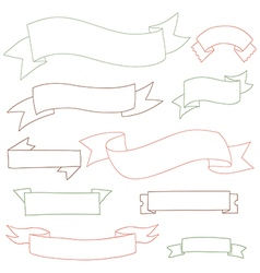 Ribbons set outline vector
