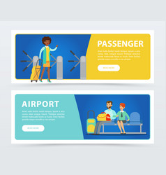 Set of flat design banners airport theme vector