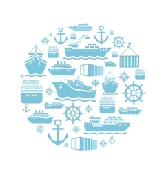Ship and boat icons background transportation vector image