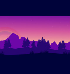 silhouette of mountain with tree landscape vector image vector image
