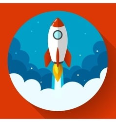 Startup Rocket in the clouds Flat vector image