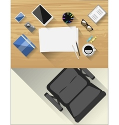 Table for creative artist Accessories for drawing vector image