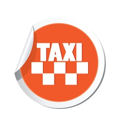 taxi sign orange sticker vector image vector image