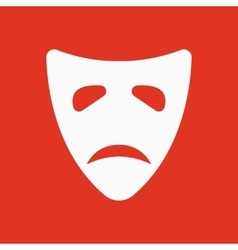 The sad mask icon Tragedy and theater symbol vector image vector image