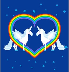Two blue unicorn and rainbow in heart shape vector