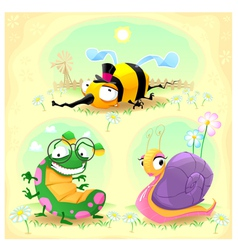 Two funny insects and one snail with background vector