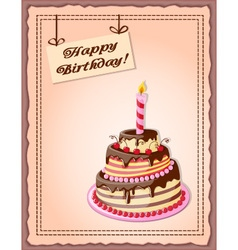 Vintage background with cake tier and candle vector