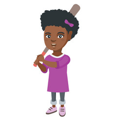 Young african-american girl playing baseball vector