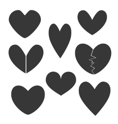 Set with heart icons vector