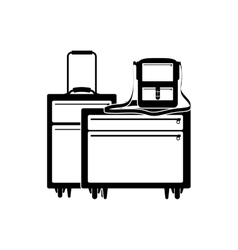 Silhouette of baggage and briefcase vector
