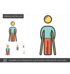 Walking crutches line icon vector image