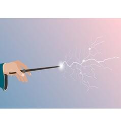 Magic wand magic stick in hand vector
