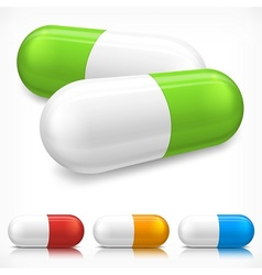 Capsule pills on white vector