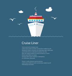 Cruise ship at sea and text vector
