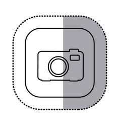 Monochrome contour with square sticker of analog vector