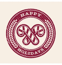 Grunge happy holidays emblem vector