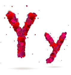Letter y made from hearts Love alphabet vector image