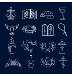 Christianity icons set outline vector