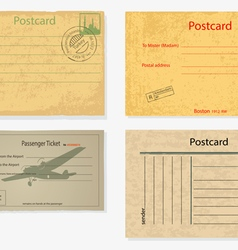 Set of old post envelopes and tickets vector