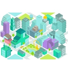 Set of the isometric city buildings shops park vector
