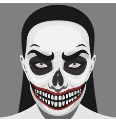 Scary skull woman with halloween makeup vector