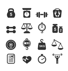 Weight icon set - scales weighing and balance vector