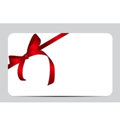 Card with red gift ribbon vector