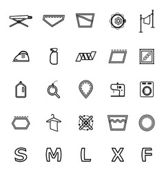 Cloth care sign and symbol line icons on white vector