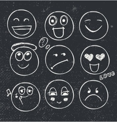 Set of hand drawn faces moods vector