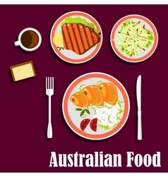 Australian cuisine with fish meat and salad vector