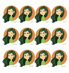 Girls facial expressions vector