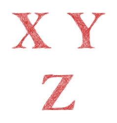 Red sketch font set - letters x y z vector