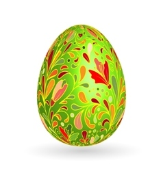 Colorful easter green egg with ornate doodle vector