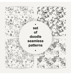 Set of hand drawn doodle seamless patterns vector